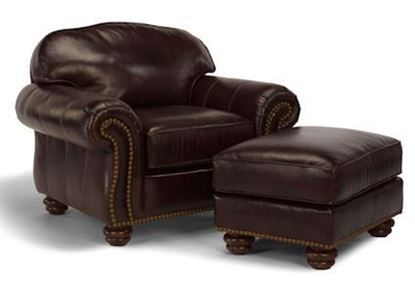 Bexley Leather Chair & Ottoman w/Nails - 3648-10-08